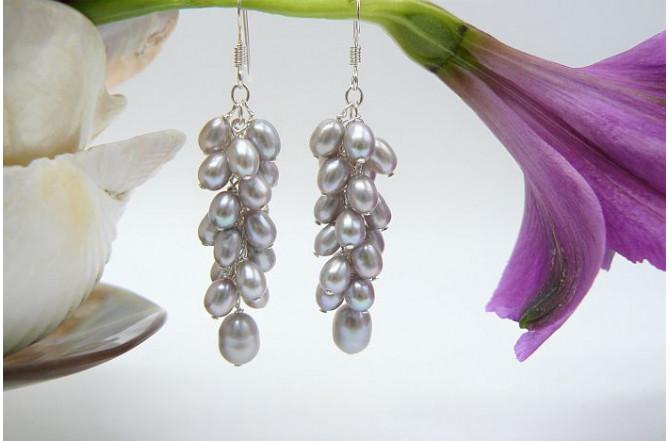 Silver Smallest Oval Pearl Cluster Drop Earrings