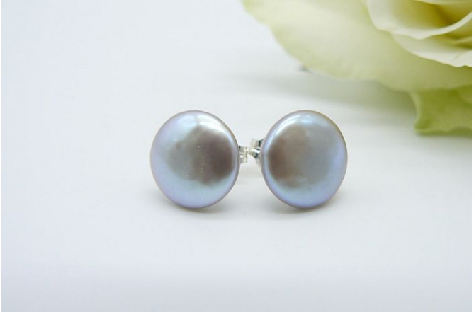 Silver Coin Pearl Stud Earrings