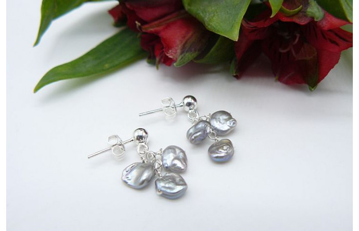 Silver Keshi Pearl Drop Earrings
