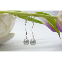 Silver Pearl Spiral Drop Earrings
