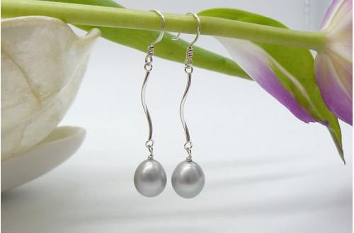 Silver Pearl Spiral Drop Earrings