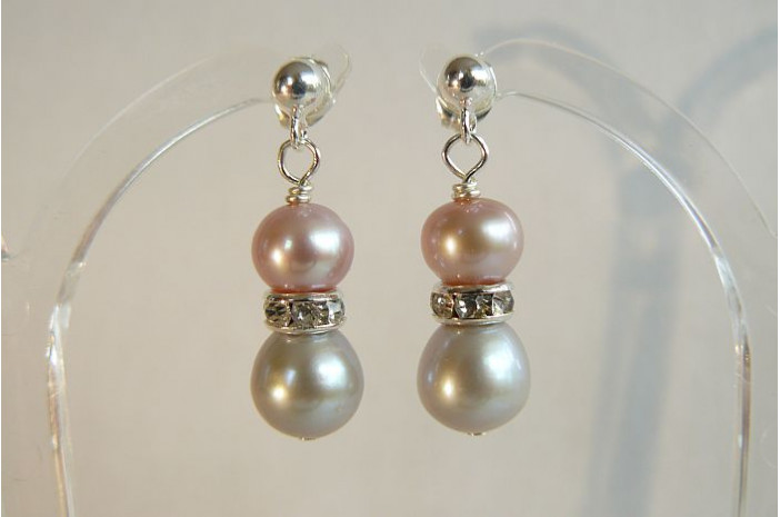 Silver & Pink Pearl & Crystal Rondel Stud Drop Earrings