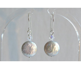 Silver Coin Pearl & Crystal Drop Earrings