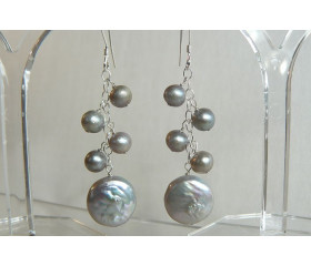 Silver Coin Pearl & Small Cluster Drop Earrings