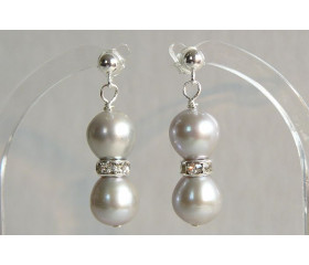 Silver Pearl & Crystal Rondel Drop Earrings