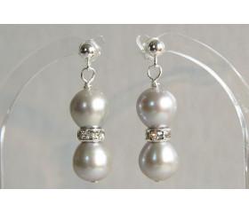 Silver Pearl & Crystal Rondel Stud Drop Earrings