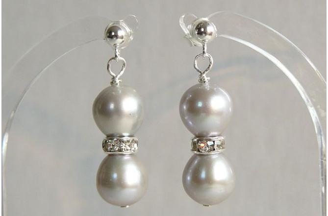 Silver Pearl & Crystal Rondel Drop Earrings
