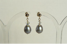 Silver Pearl & Swarovski Crystal Stud Drop Earrings