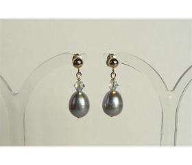 Silver Pearl & Swarovski Crystal Stud Drop Earrings