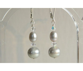 Silver Round Pearl & Crystal Drop Earrings