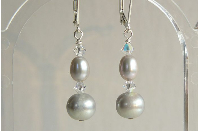 Silver Round Pearl & Crystal Drop Earrings