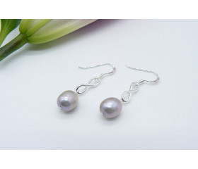 Silver Pearl & Sterling Silver Infinity Ring Drop Earrings