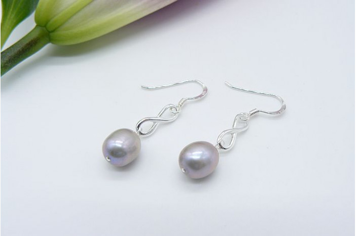 Silver Pearl & Sterling Silver Infinity Ring Drop Earrings