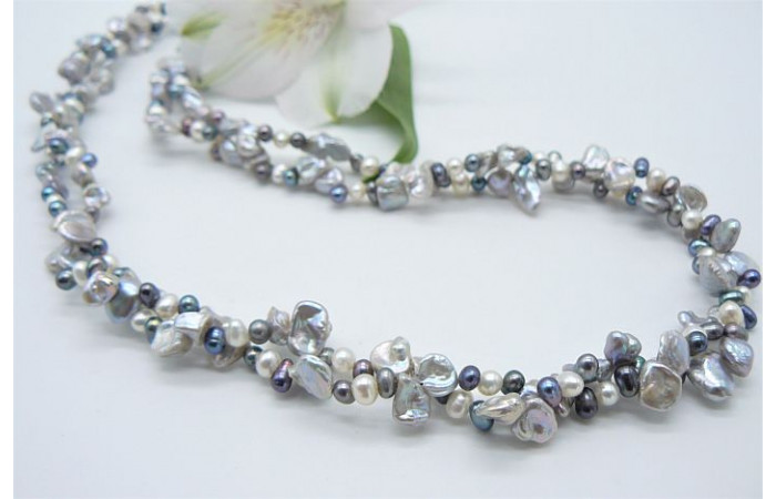 Silver Grey & White Keshi Multistrand Necklace