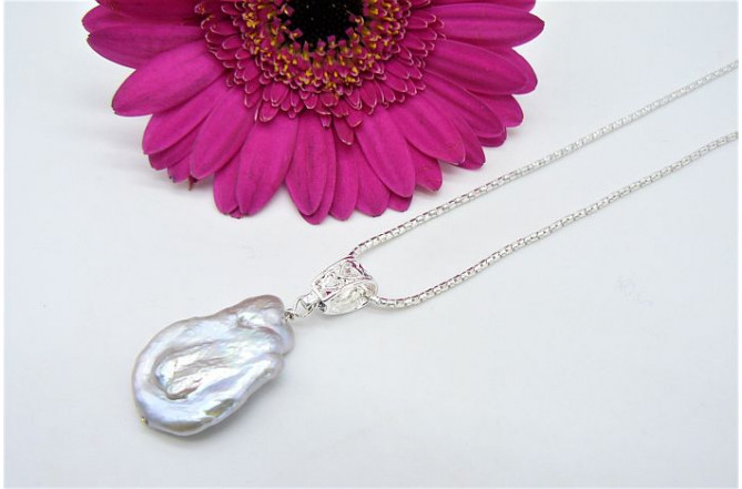 Silver Large Baroque Pearl Pendant Necklace