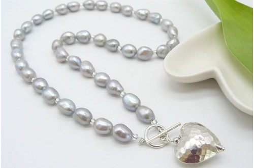 Silver Irregular Pearl Necklace & Silver Hammered Heart