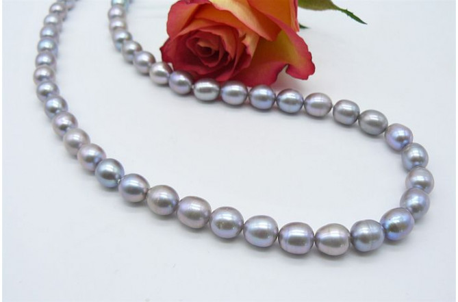 Silver Medium Oval Pearl Necklace