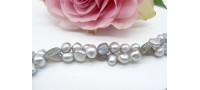 Silver Pearl & Labradorite Two Strand Necklace
