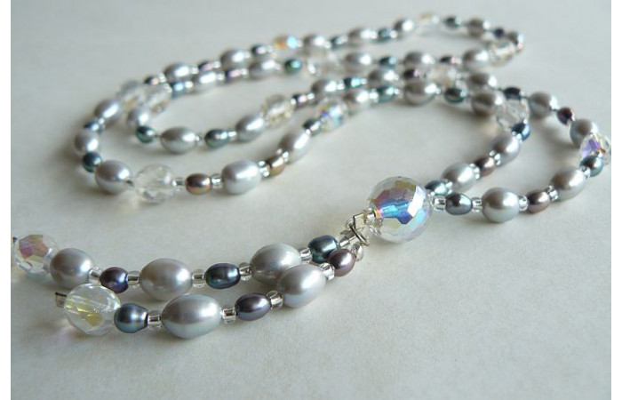Silver & Grey Pearl Long Necklace with Tassel