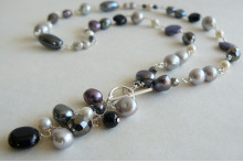 Grey & Silver Pearl Silver Linked Necklace