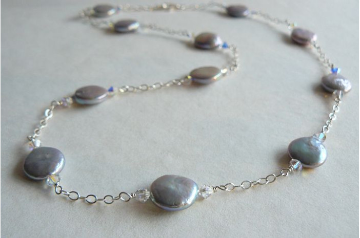 Silver Coin Pearls & Silver Chain Long Necklace