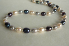Silver Grey & White Large Oval Pearl Necklace