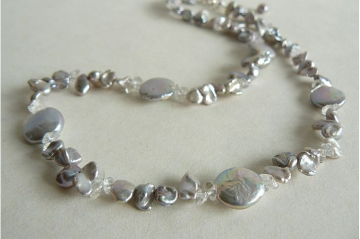 Silver Keshi & Coin Pearl Necklace