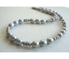 Silver Large Oval Pearl & Crystal Rondel Necklace