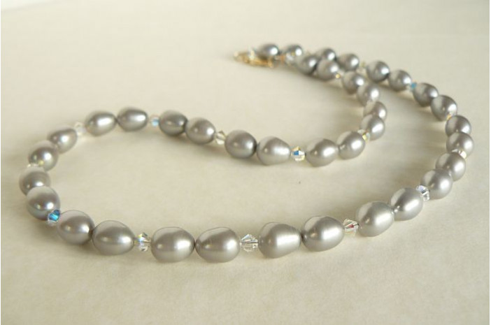Silver Pearl & Swarovski Crystal Necklace