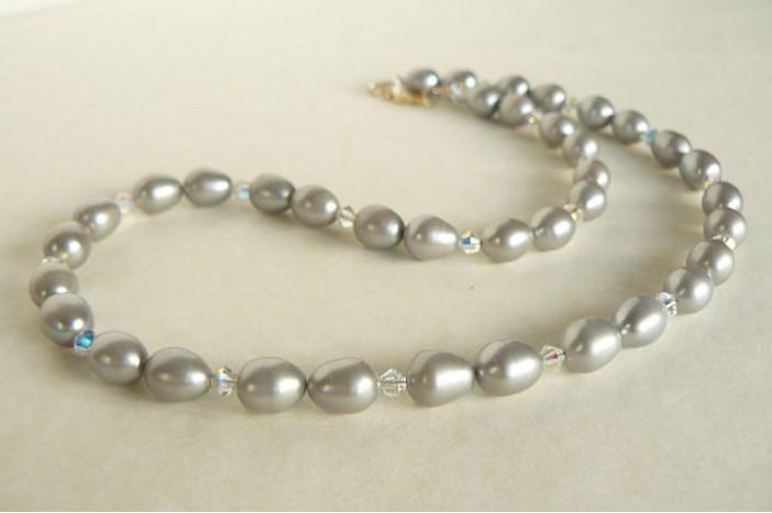 Silver Pearl & Swarovski Crystal Necklace
