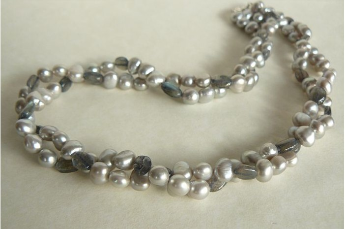 Silver Pearl & Labradorite Two Strand Necklace