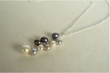 Silver Grey & White Pearl Cluster Necklace on Silver Chain