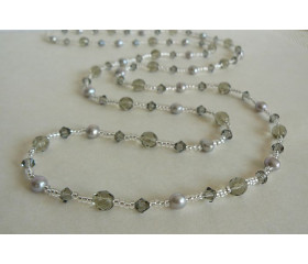 Tie or Wrap Silver Pearl & Swarovski Crystal Long Necklace