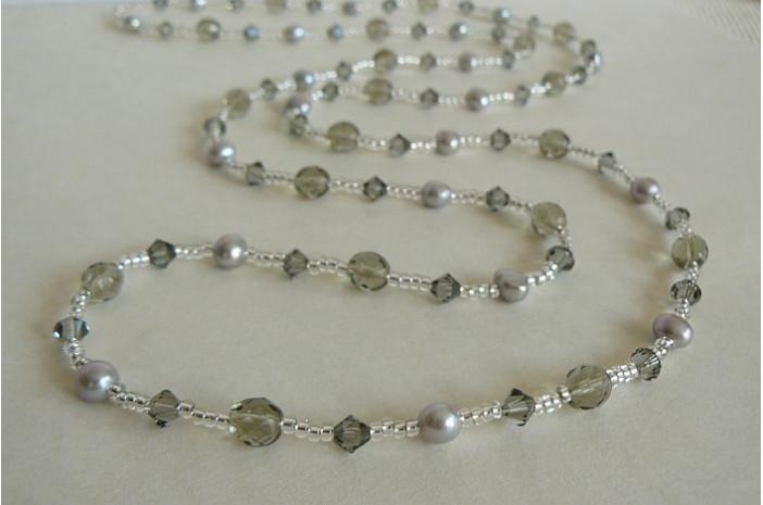Tie or Wrap Silver Pearl & Swarovski Crystal Long Necklace
