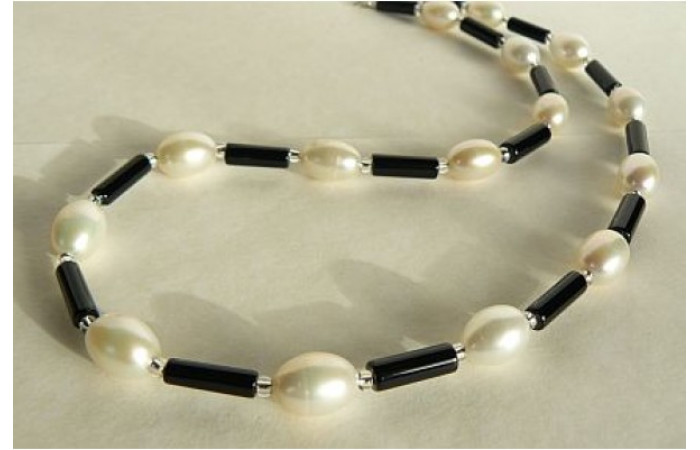 Black Agate & Large White Oval Pearl Necklace