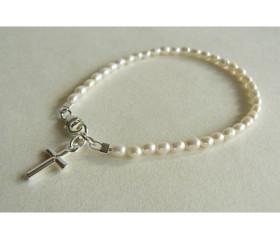 White Smallest Oval Pearl & Silver Cross Bracelet