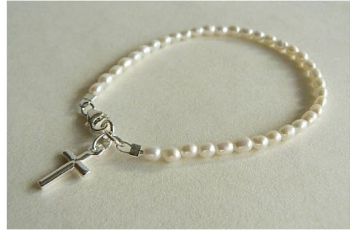 White Smallest Oval Pearl & Silver Cross Bracelet