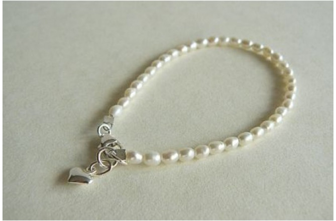 White Smallest Oval Pearl & Silver Heart Bracelet