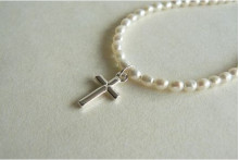 White Smallest Oval Pearl & Silver Cross Necklace