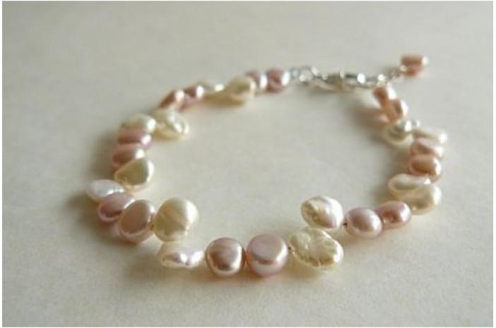 Pink & White Keshi Pearl Bracelet