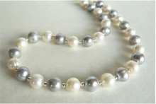 Silver & White Largest Round Pearl Necklace