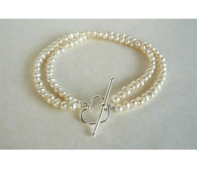 White Smallest Round Pearl Double Strand Bracelet & Heart Clasp
