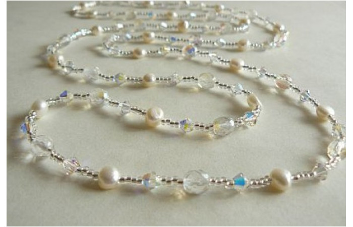 Tie or Wrap White Pearl & Swarovski Crystal Long Necklace