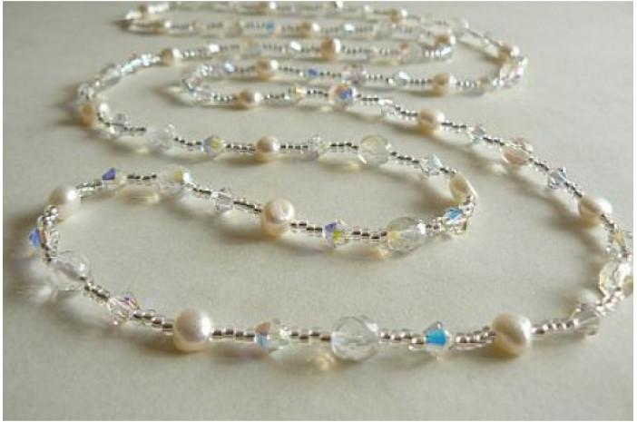 Tie or Wrap White Pearl & Swarovski Crystal Long Necklace