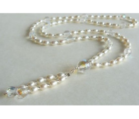 White Oval Pearl Long Necklace with Tassel