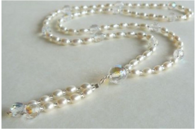 White Pearl Long Necklace with Tassel
