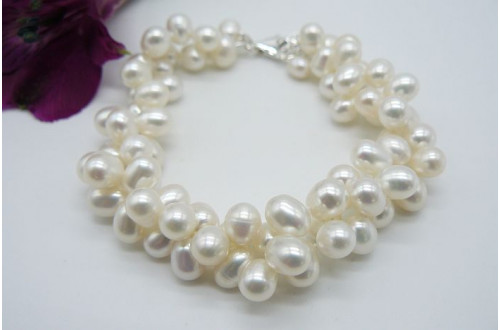 Two Strand White Large Head-Drill Bracelet