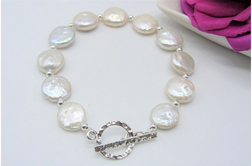 White Coin Pearl and Silver Bead Bracelet