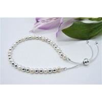 White Pearl & Sterling Silver Bead Slider Adjustable Clasp Bracelet