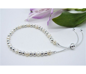 Sterling Silver & Pearl Slider Adjustable Clasp Bracelet